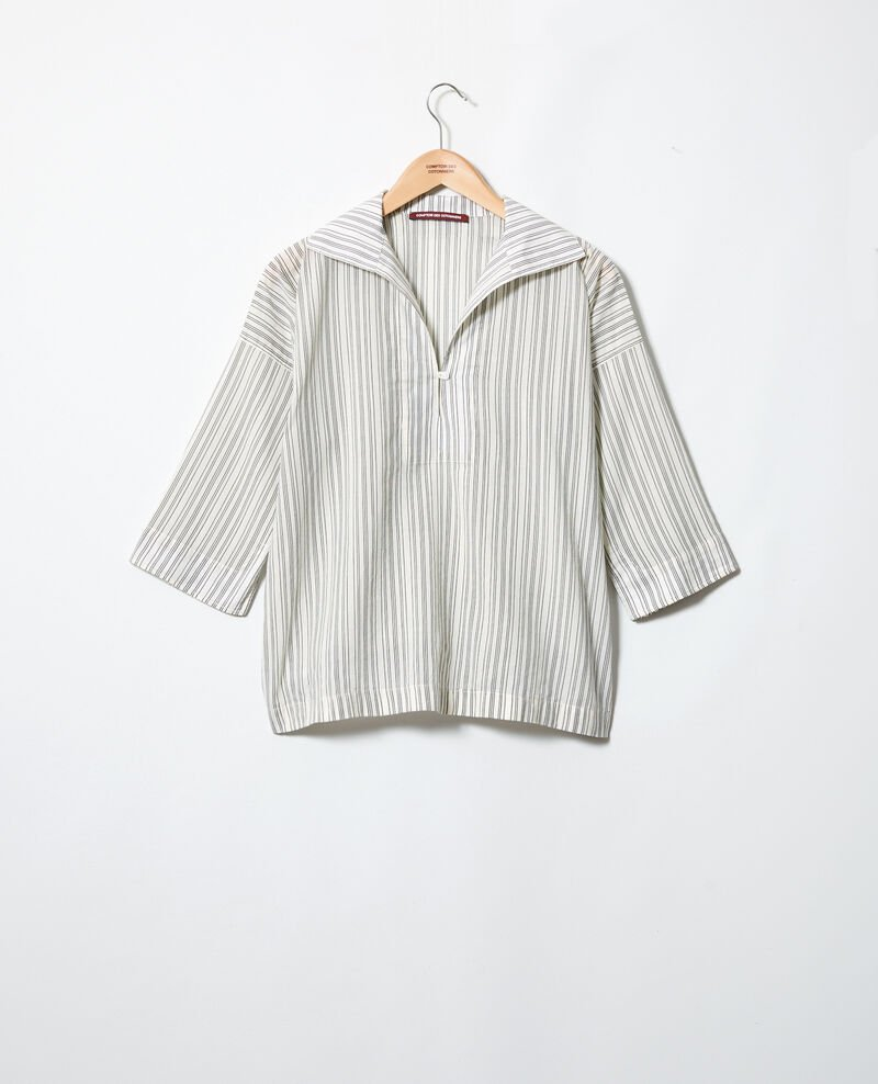 Deep neck shirt Off white/grey Iteria