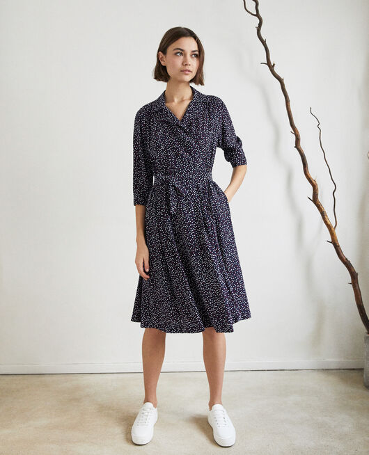 Wrap dress DOT PRINT NAVY