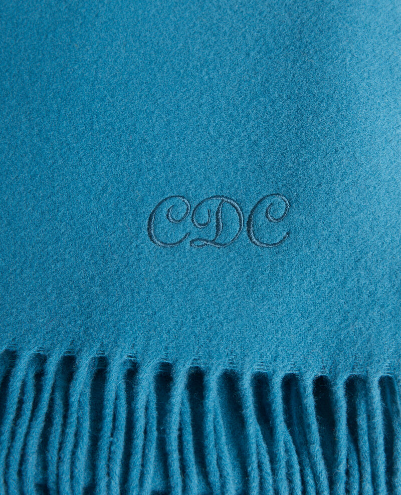 Long wool scarf with fringes Blue coral Mautes