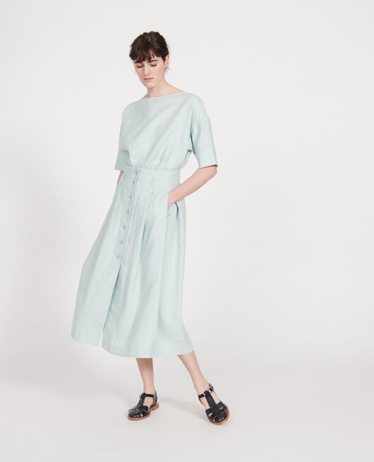 Loose linen skirt BLUE HAZE