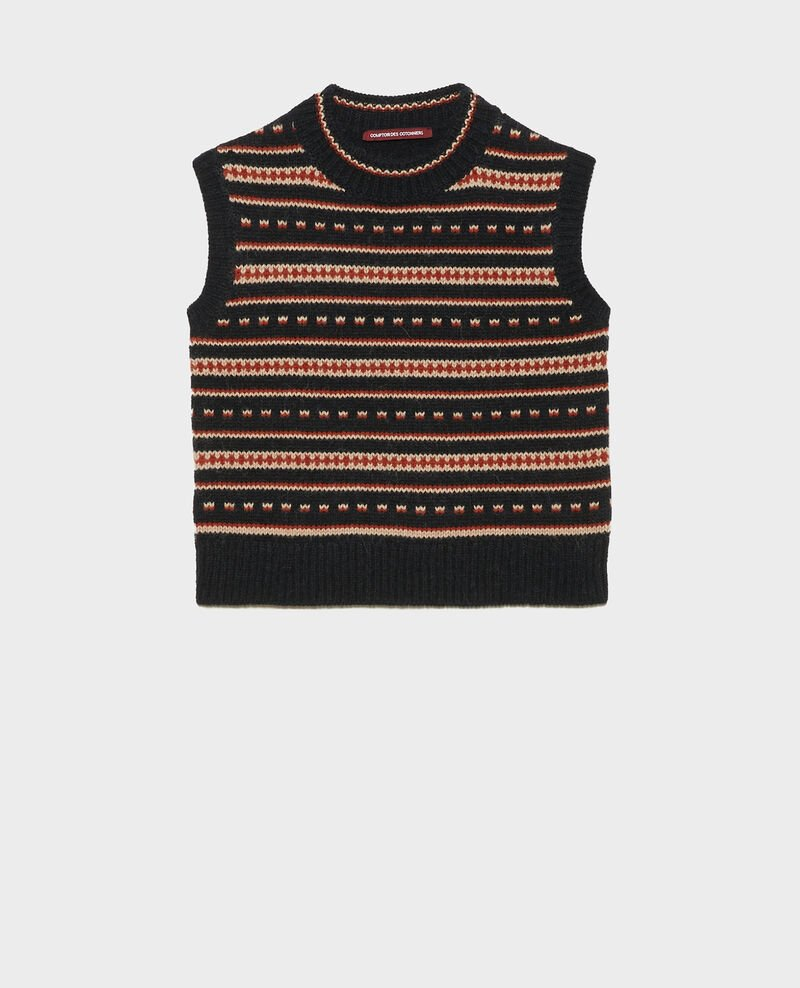 Sleeveless alpaca wool jacquard jumper Black brandy lighttaupe jacquard Moiran