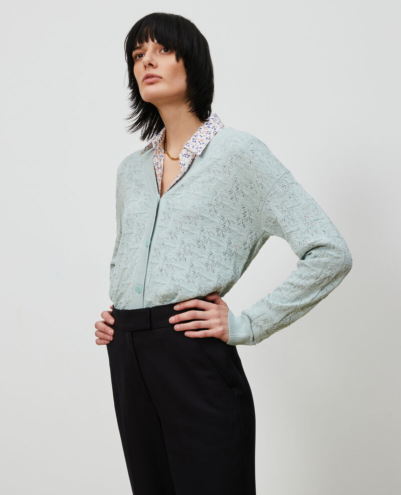 Rib knit cardigan Blue haze Lafiora