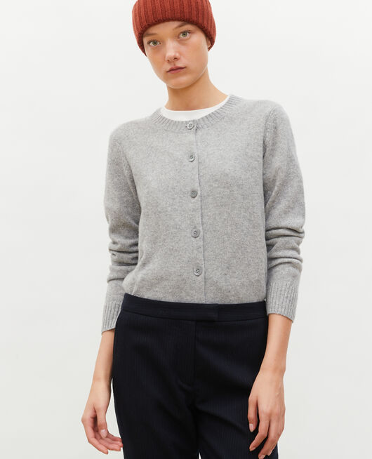 Round neck cashmere cardigan LIGHT GREY MELANGE