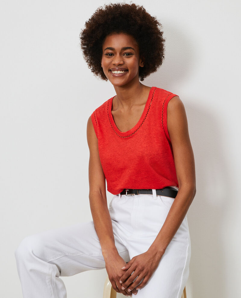 Linen tank top Fiery red Lespa