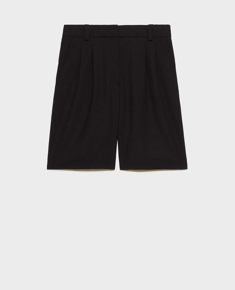 Wide high waisted bermuda shorts Black beauty Nicola