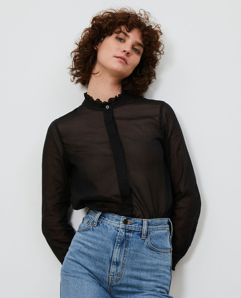 Ruffle neck shirt Black beauty Nacelle