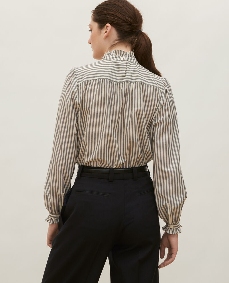 Striped wool gauze blouse with a ruffled collar Stripe grey offwhite Marchas