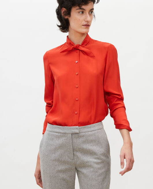 Long-sleeve tie neck silk blouse VALIANT POPPY