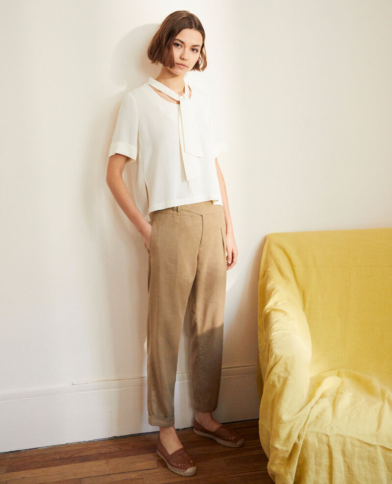 Linen blend trousers Natural beige Inouri