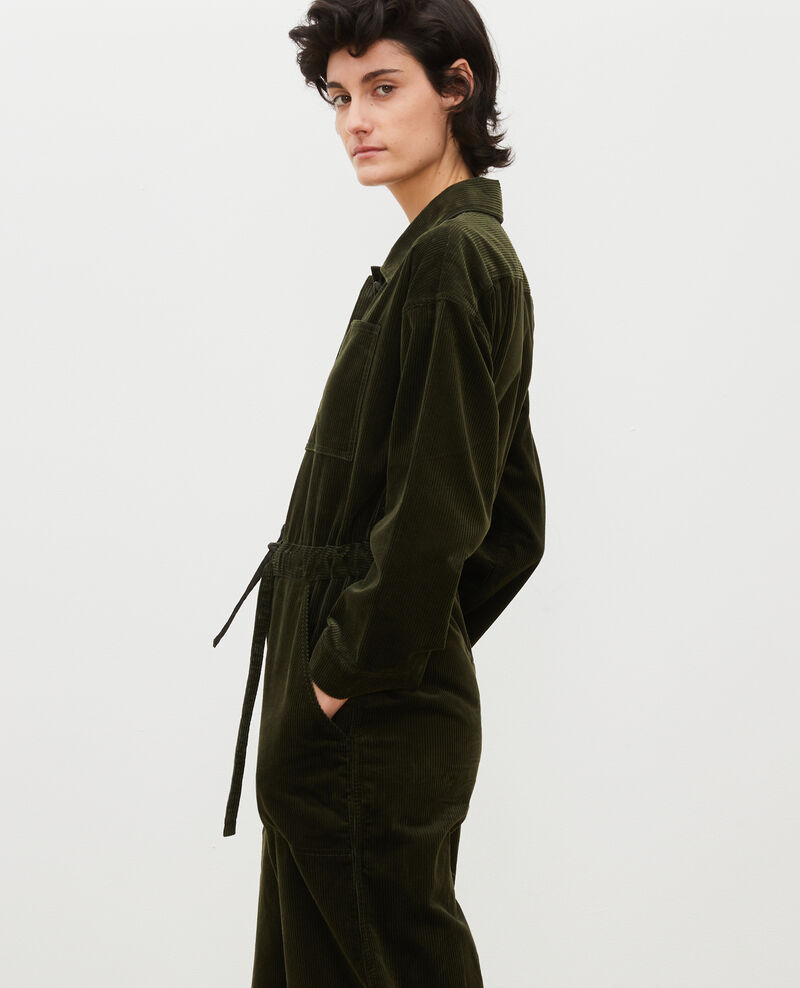 Oversize corduroy jumpsuit Military green Marmax