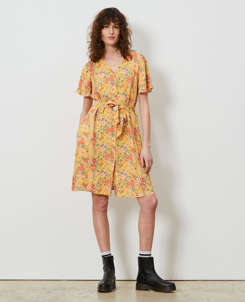 Short printed dress Ete gold small Nauvishort