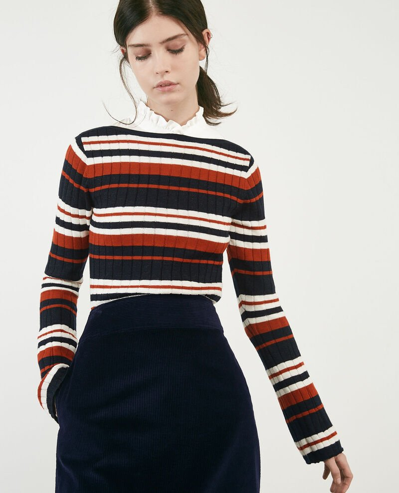 Ribbed wool jumper with high shine lurex inlay Rust/off white/navy Diademe