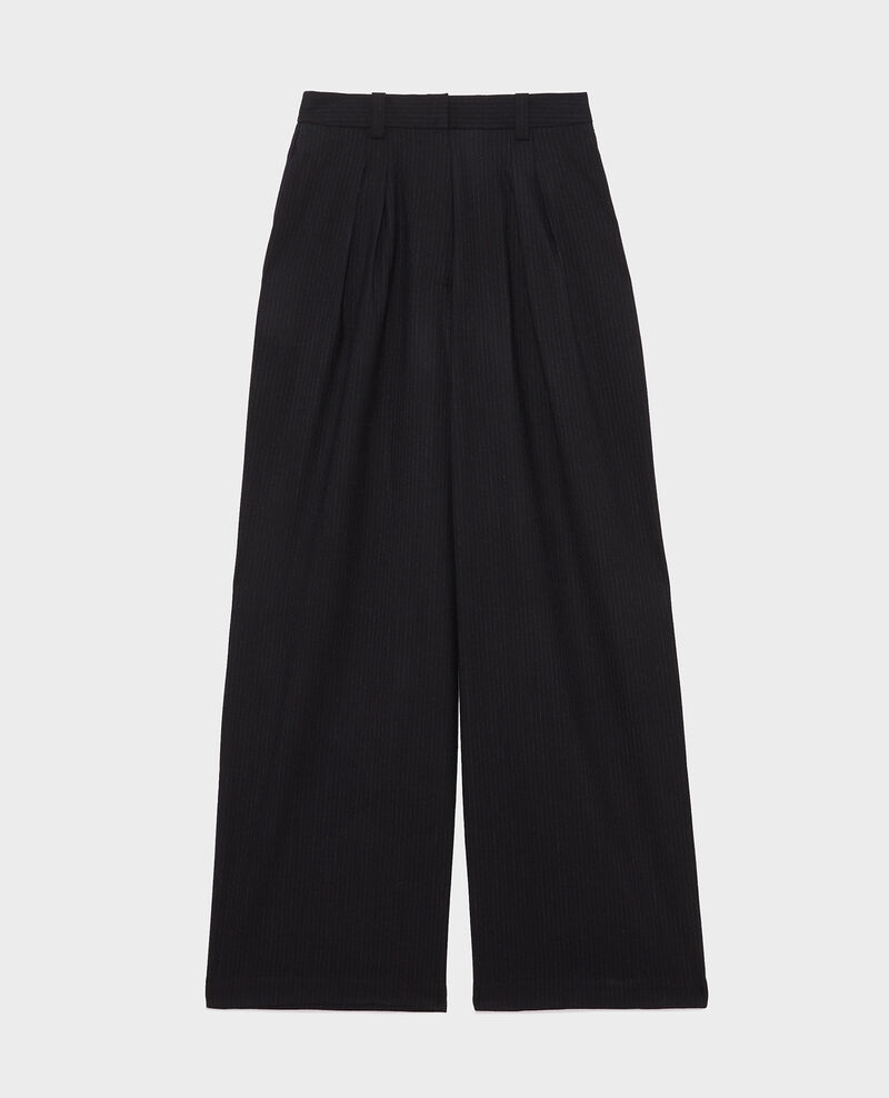 High-waisted wide wool trousers YVONNE Night sky Mofare