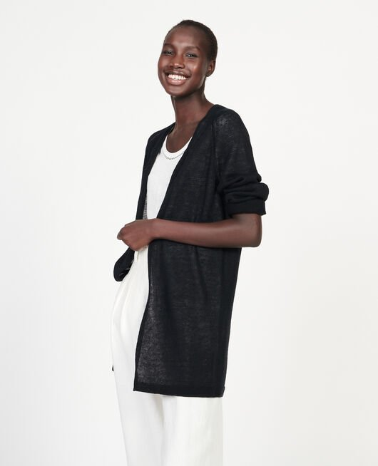 Linen cardigan BLACK BEAUTY