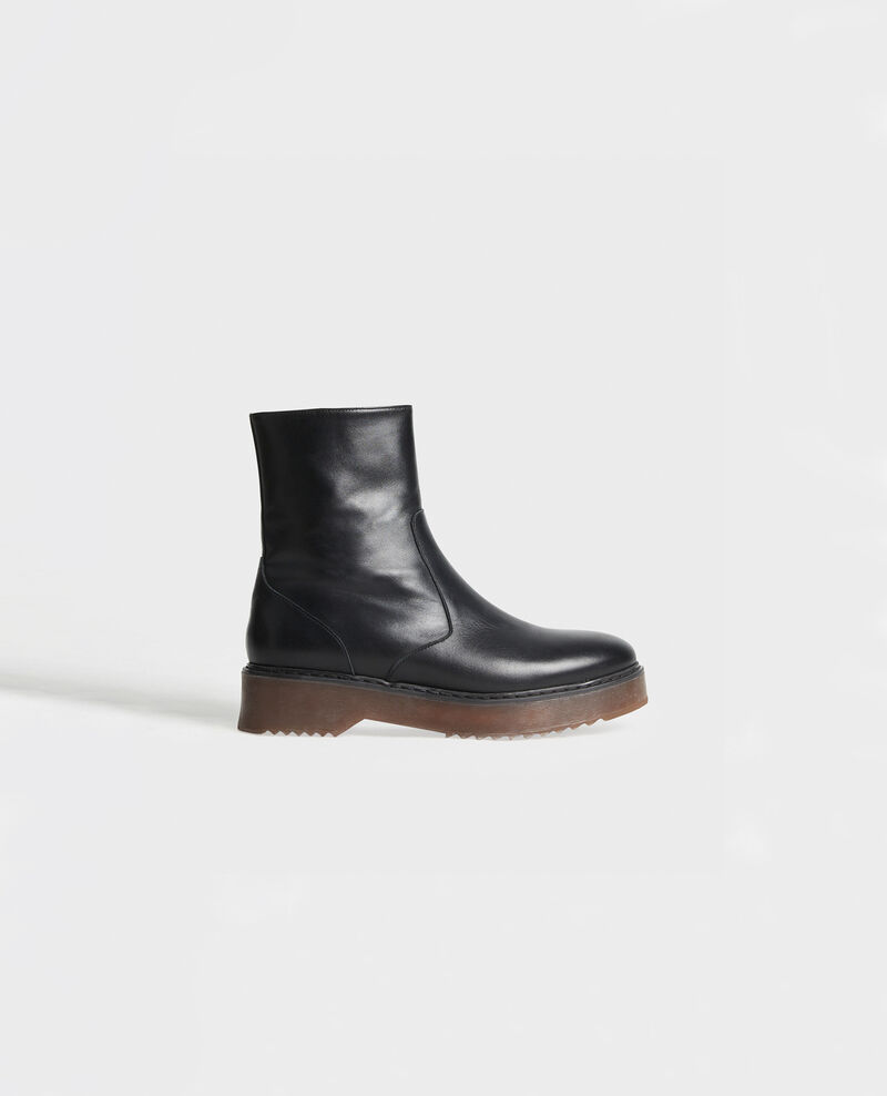 Leather wedge boots Black beauty Melun