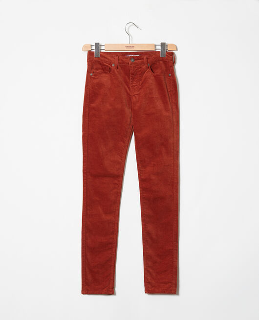 Smooth velvet trousers BRANDY BROWN