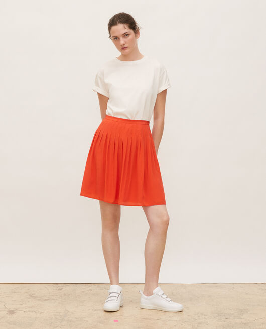 Pleated flared silk mini skirt VALIANT POPPY