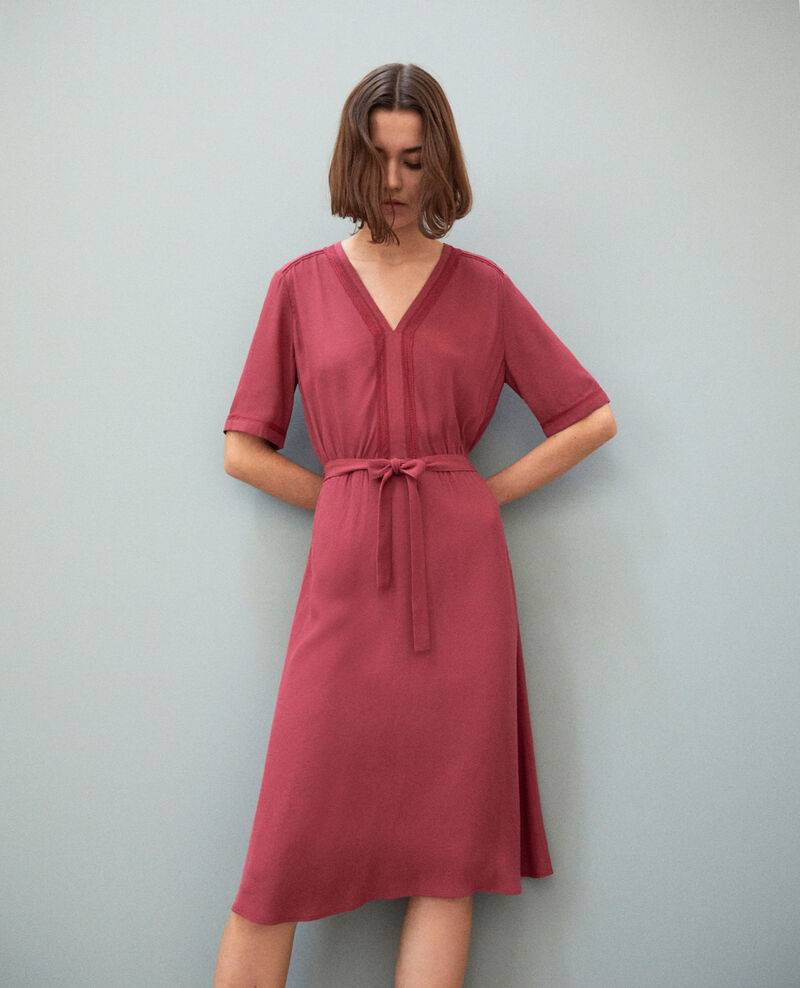 Dress with embroidered inserts Earth red Grigue