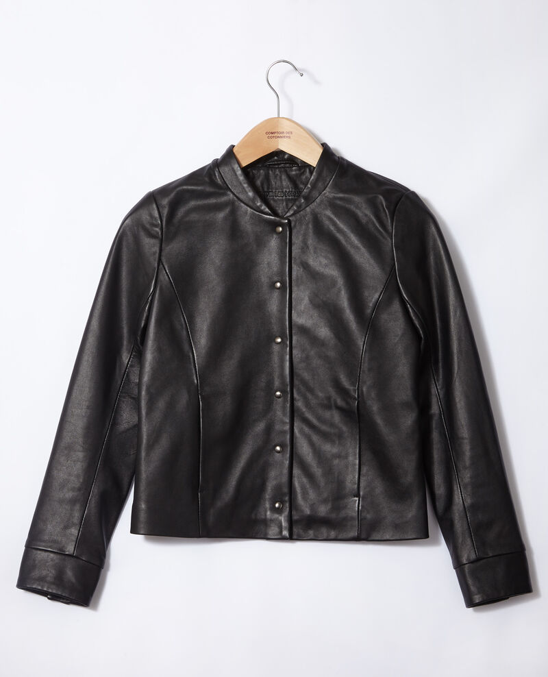 Leather bomber jacket Black Gabinien