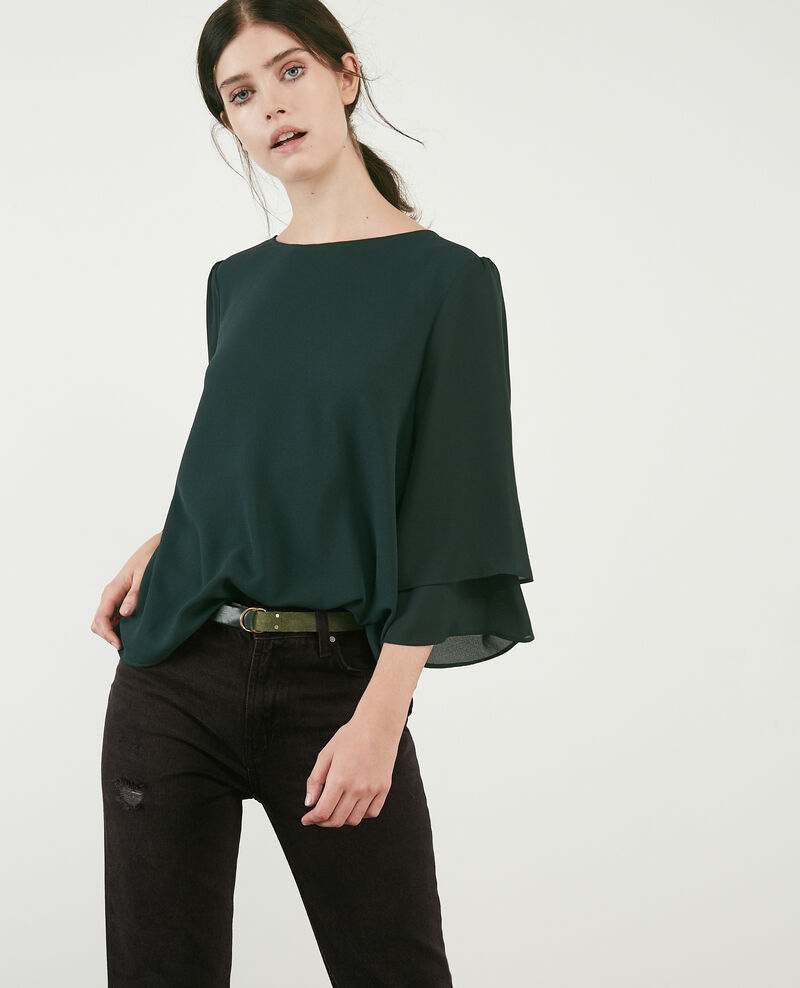 Blouse with wide sleeves Deep green Diego