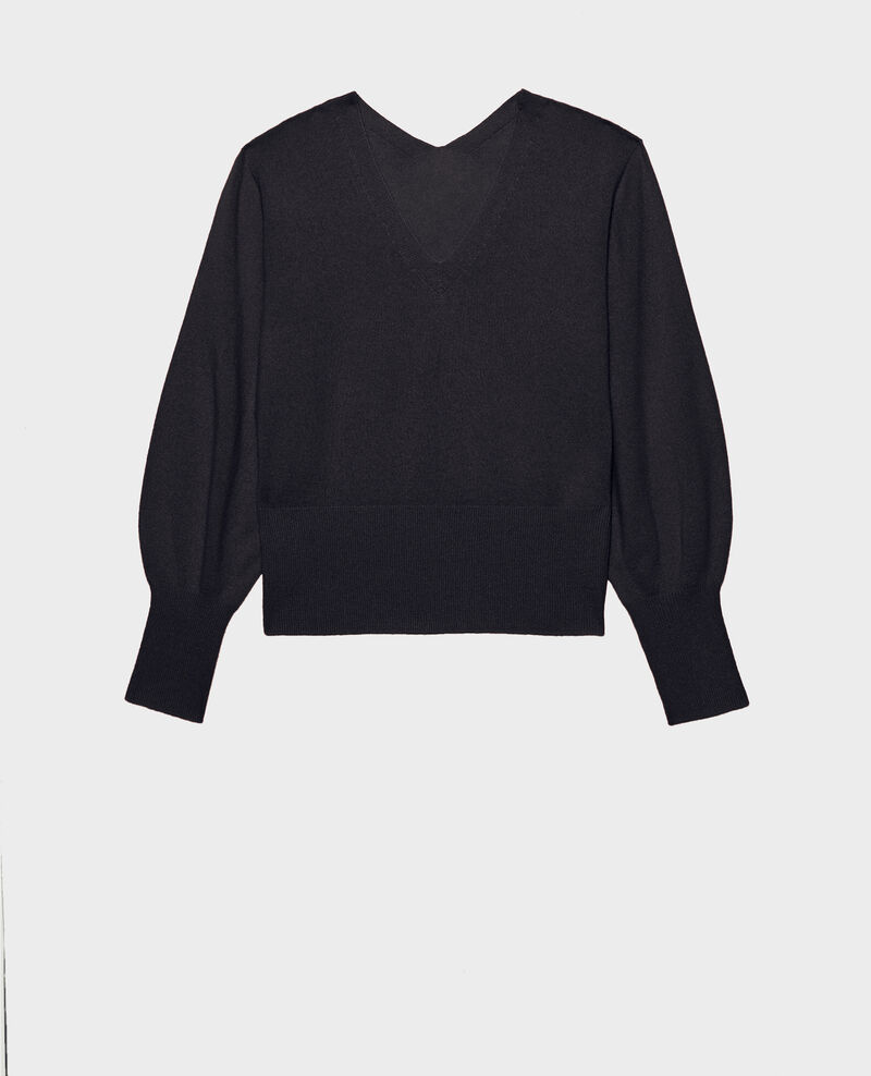 Fine 3D cashmere jumper with V-front and back Night sky Manona