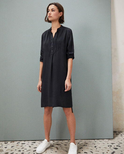 Silk dress with yoke NOIR