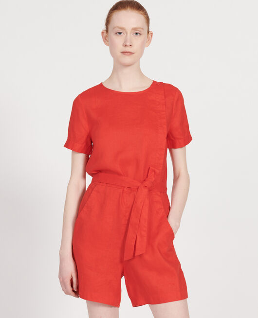 Linen playsuit FIERY RED