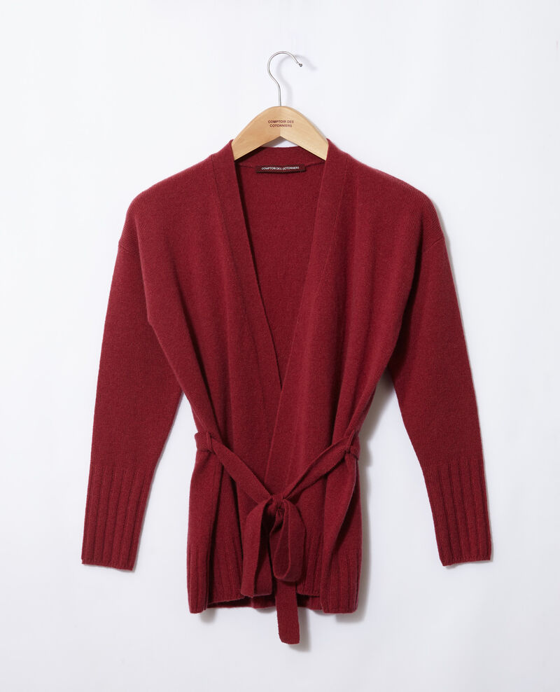 Wrapover cashmere cardigan Earth red Germain
