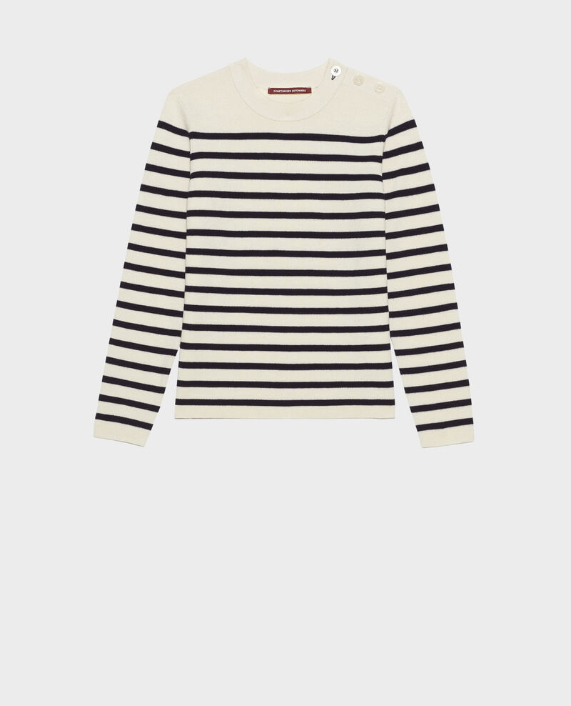 MADDY - Striped wool jumper Str_jetstream_nt_sky Liselle