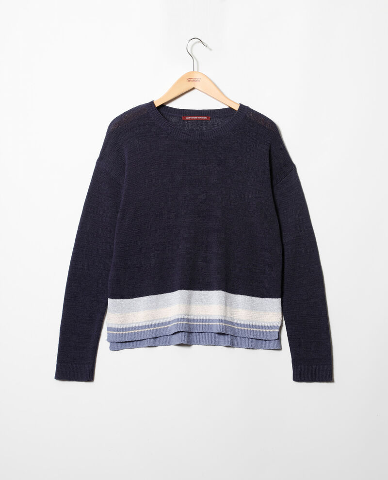 Linen blend round neck jumper Ink navy Iraye