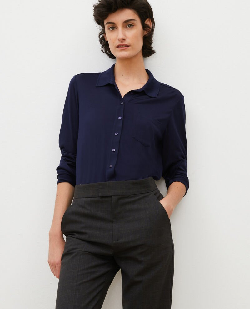 Silk jersey shirt Maritime blue Leanor