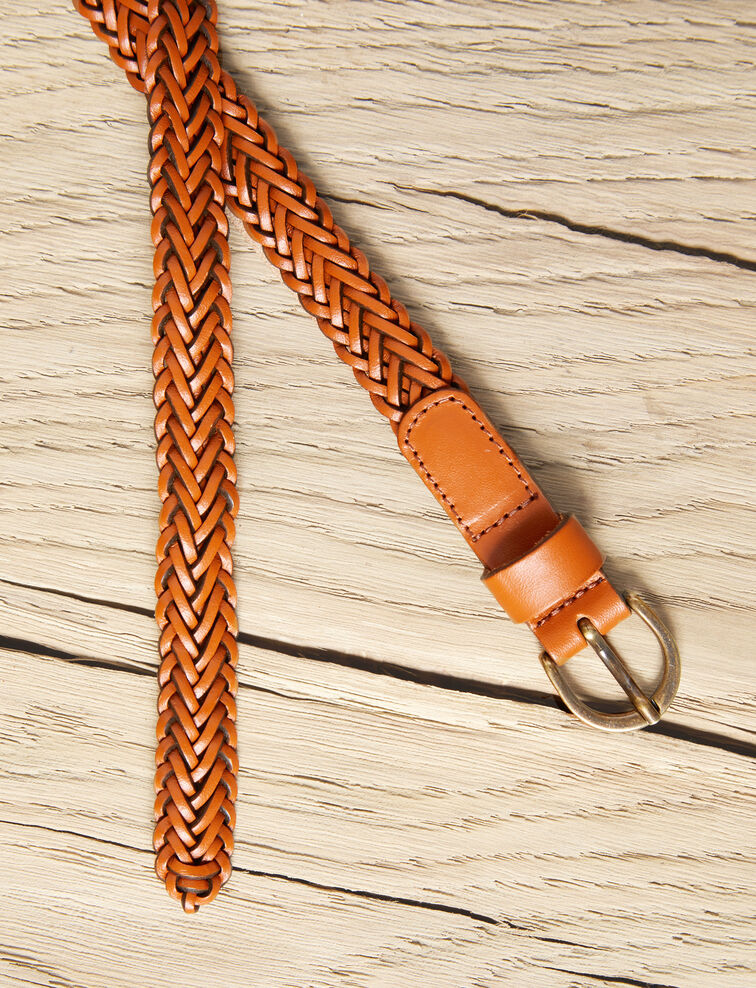 Small braided leather belt Camel Ivobi