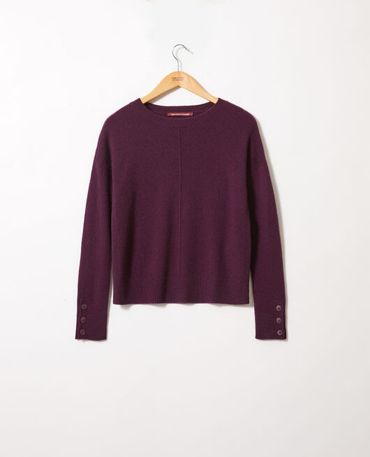 Jumper with buttons on the sleeves 100% cashmere POTENT PURPLE