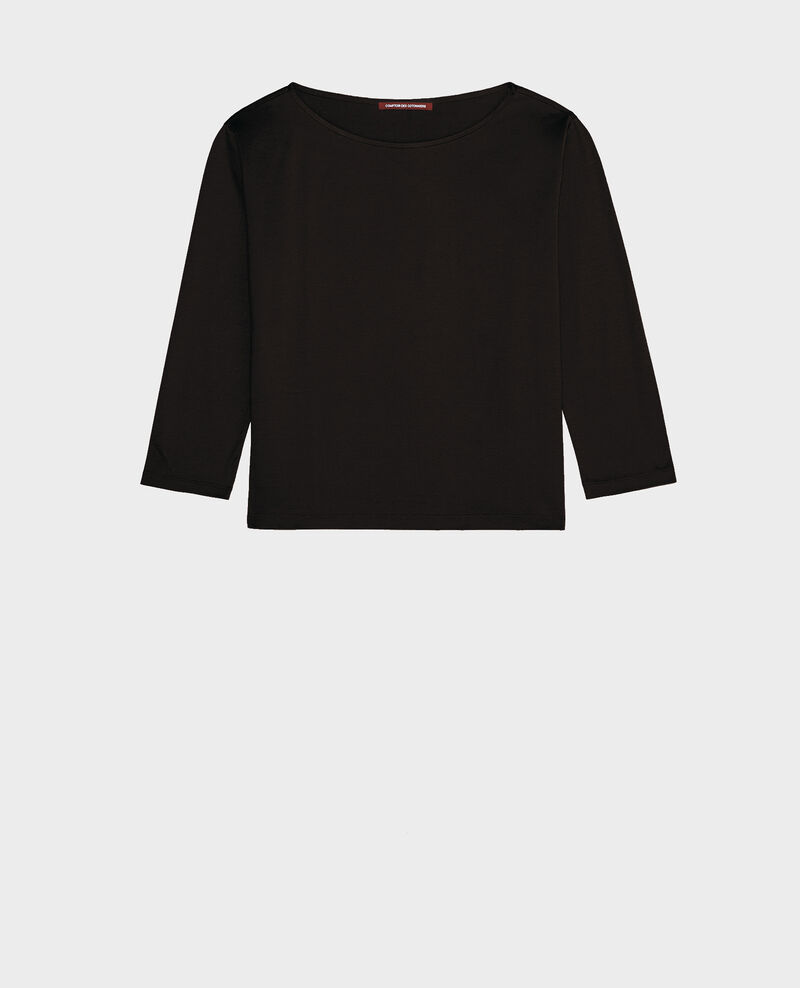 Boatneck long-sleeve cotton t-shirt Black beauty Lotel