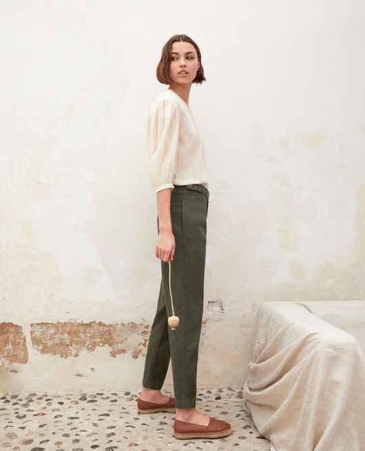 Linen blend trousers MILITARY GREEN