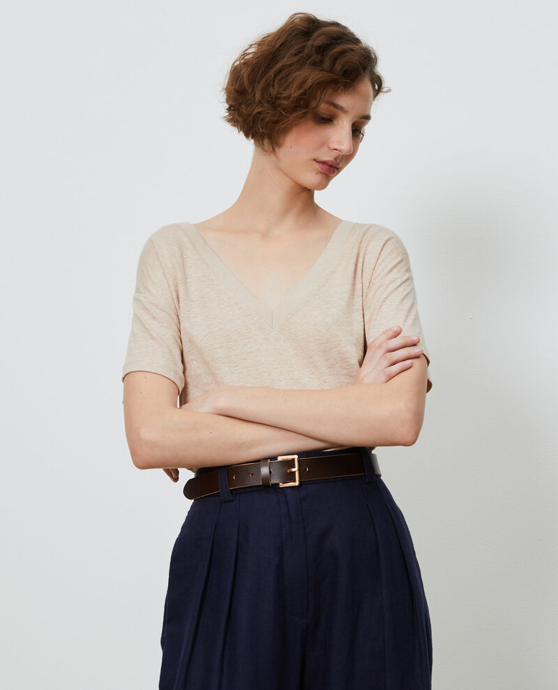 Linen V-neck t-shirt Oxford tan Locmelar