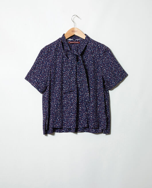 Blouse with removable neck tie CONFETTI INK NAVY