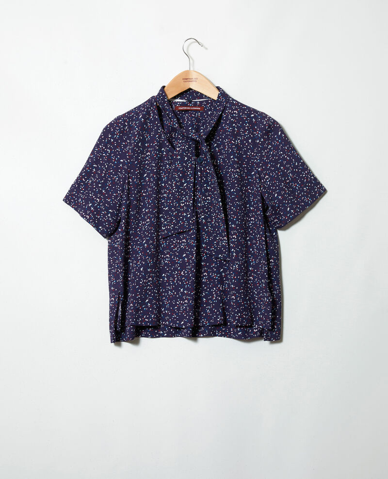 Blouse with removable neck tie Confetti ink navy Ipexo