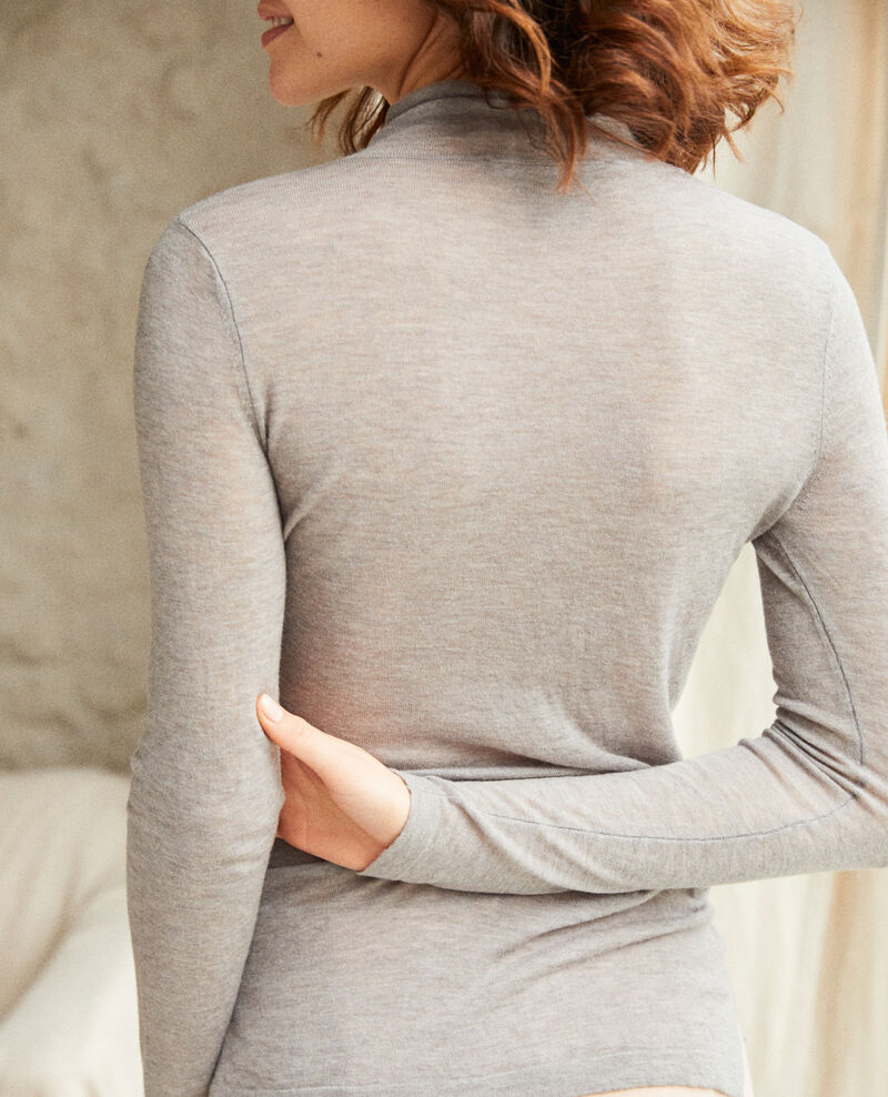 Funnel neck wool jumper Heather light grey Ilfried