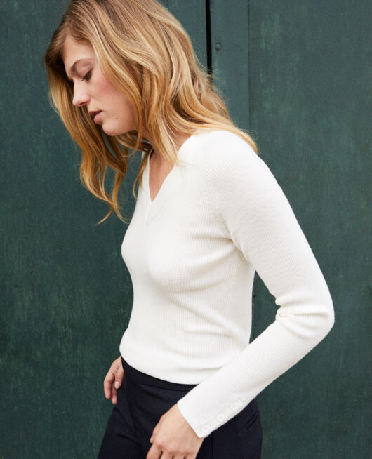 V-neck jumper 100% Merino Wool OFF WHITE