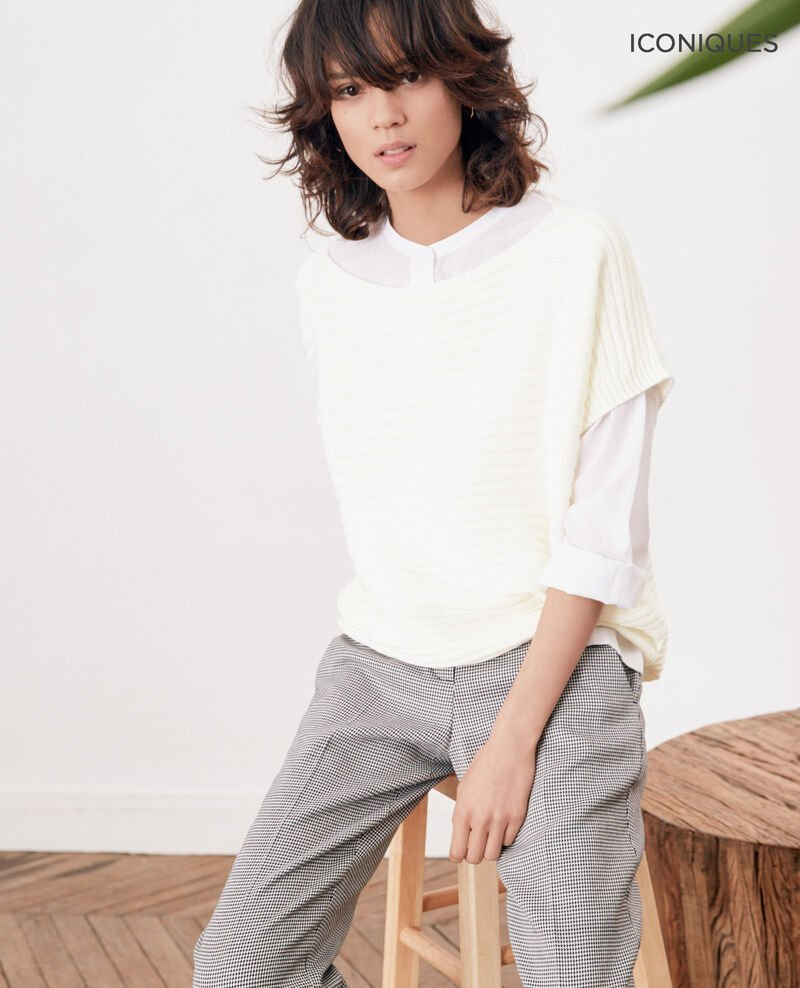 Short-sleeved seamless ribbed knit jumper Kaolin Falsi