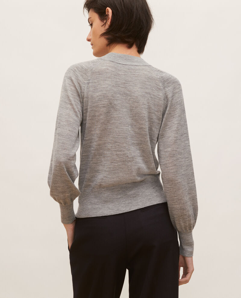 Round neck merino wool cardigan Light grey melange Molinot