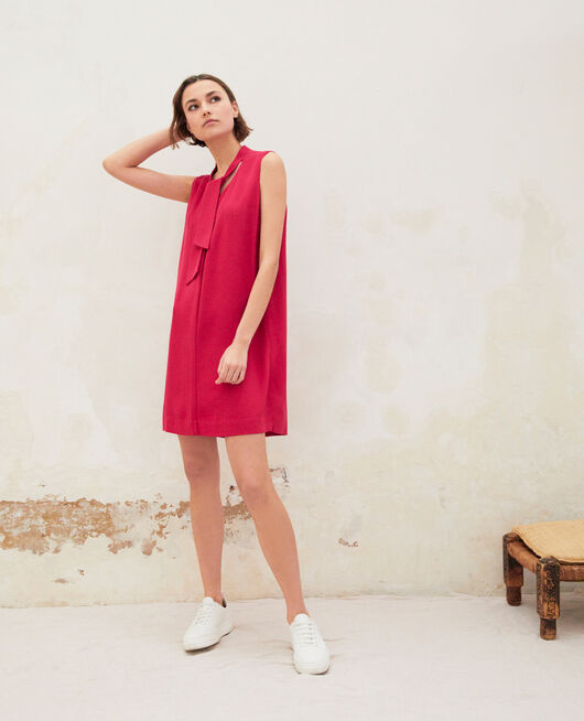 Dress with removable tie FUSHIA
