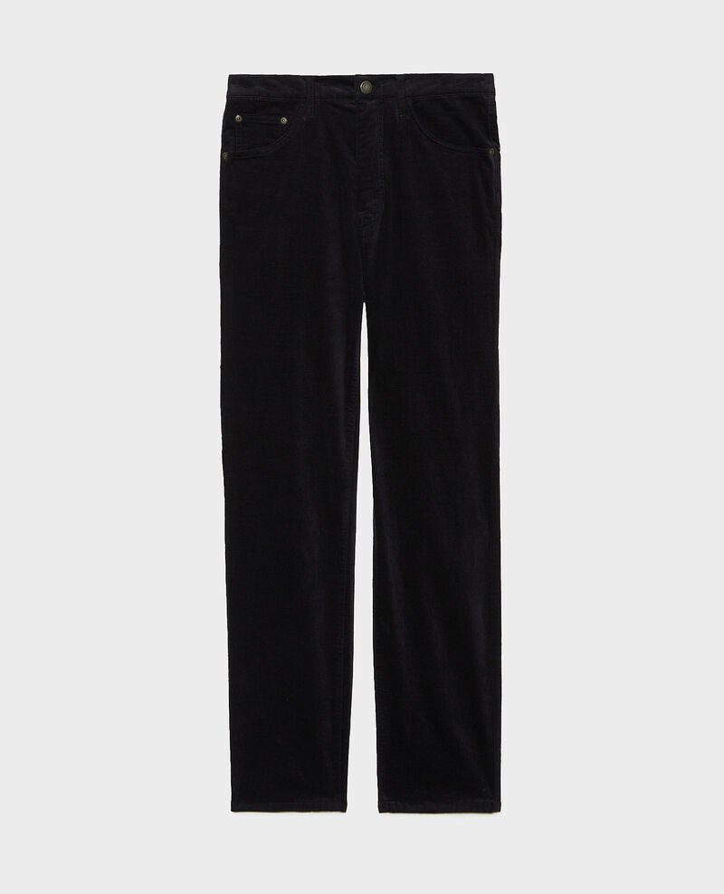 SLIM STRAIGHT - smooth velvet 5 pocket jeans Night sky Muillemin