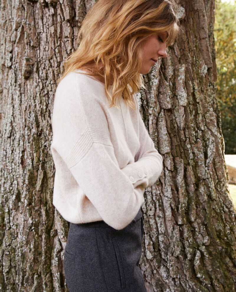 Jumper with buttons on the sleeves 100% cashmere Buttercream Jypie