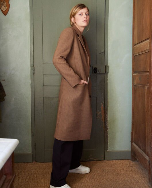 Mid-length coat HOUNDTOOTH