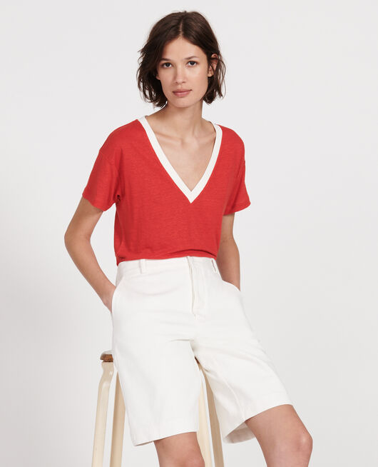 Linen jersey t-shirt STRIPES FIERY RED GARDENIA