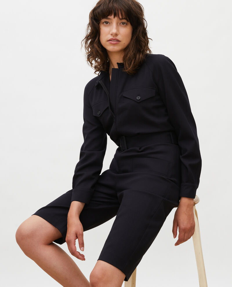 Wool bermuda jumpsuit Black beauty Marbache