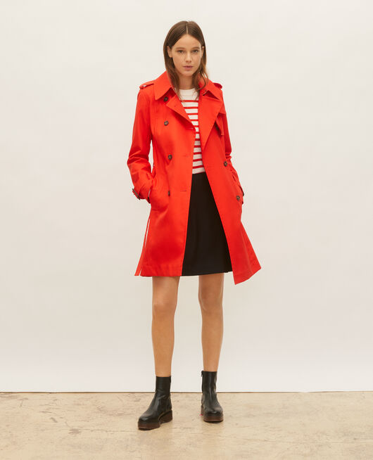 Iconic cotton trench FIERY RED