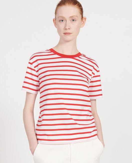 Egyptian cotton t-shirt STRIPES OPTICAL WHITE FIERY RED
